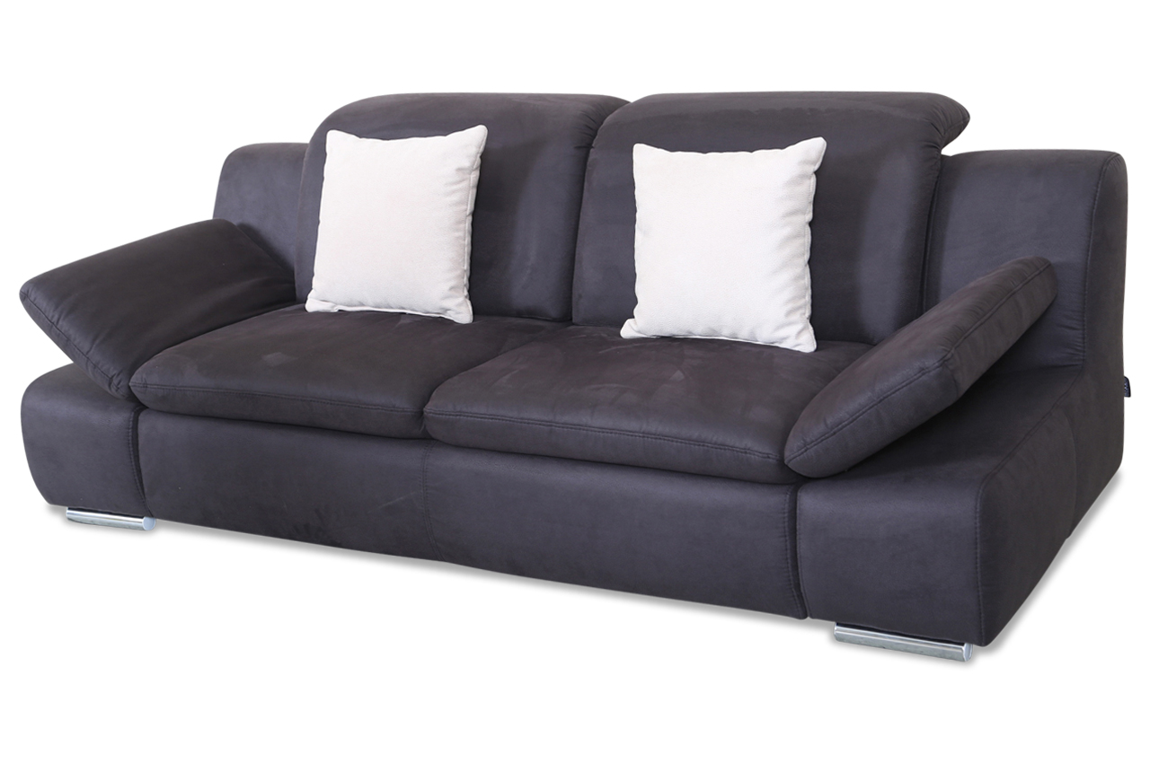 3er sofa schwarz sofa couch ecksofa ebay. Black Bedroom Furniture Sets. Home Design Ideas