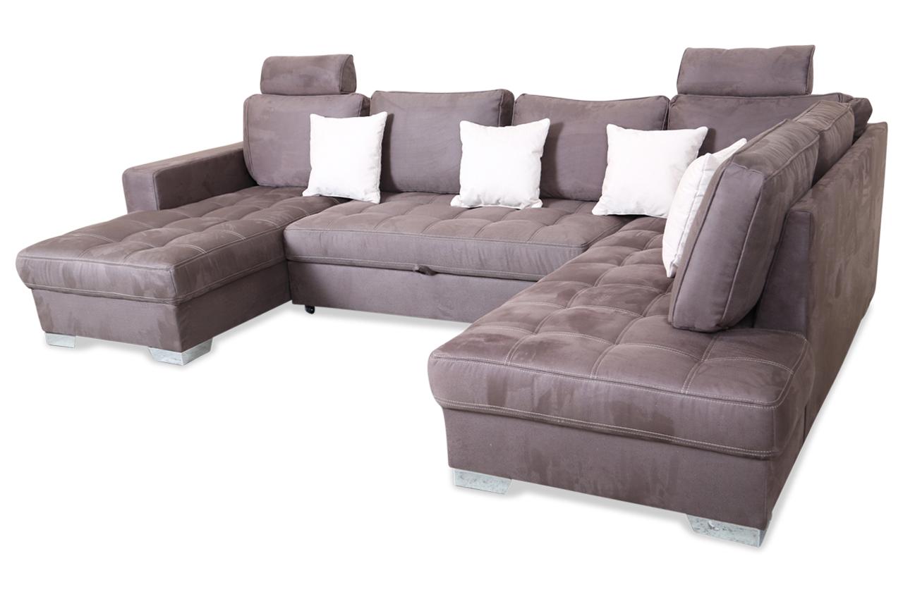 wohnlandschaft arles mit schlaffunktion braun sofas zum halben preis. Black Bedroom Furniture Sets. Home Design Ideas