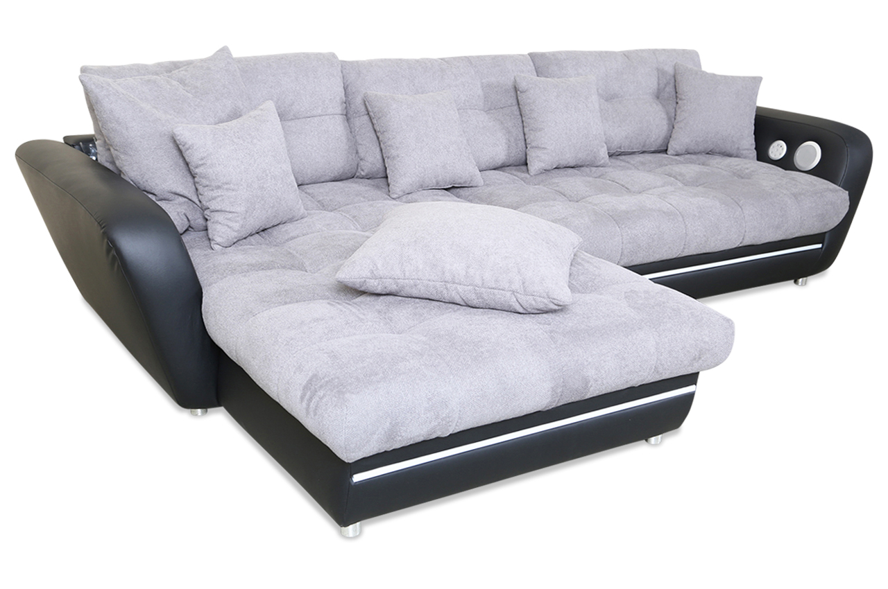 castello ecksofa lina mit led und sound grau sofa couch ecksofa ebay. Black Bedroom Furniture Sets. Home Design Ideas