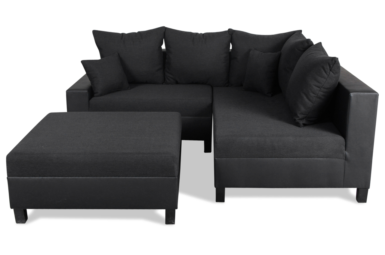 blackredwhite ecksofa xl gloria mit hocker schwarz mit federkern sofas zum halben preis. Black Bedroom Furniture Sets. Home Design Ideas