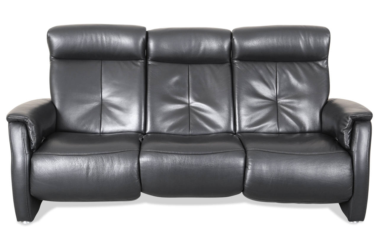 sale htl international leder 3er sofa 2468 mit relax schwarz sofa couch ec ebay. Black Bedroom Furniture Sets. Home Design Ideas