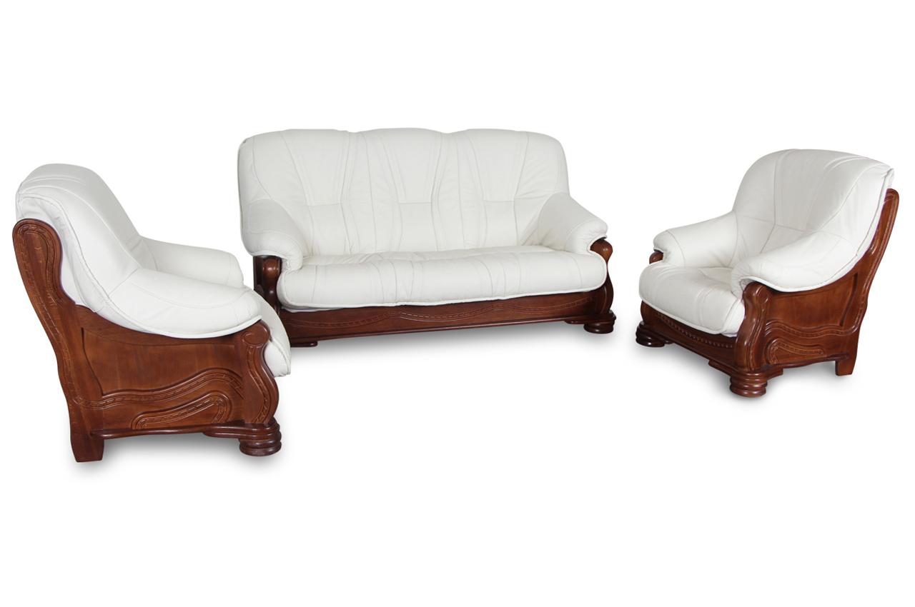 chojmex leder garnitur 3 1 1 omega weiss sofas zum. Black Bedroom Furniture Sets. Home Design Ideas