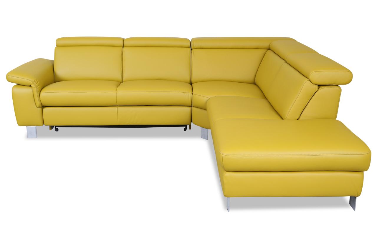 leder rundecke mit schlaffunktion gelb sofa couch ecksofa ebay. Black Bedroom Furniture Sets. Home Design Ideas
