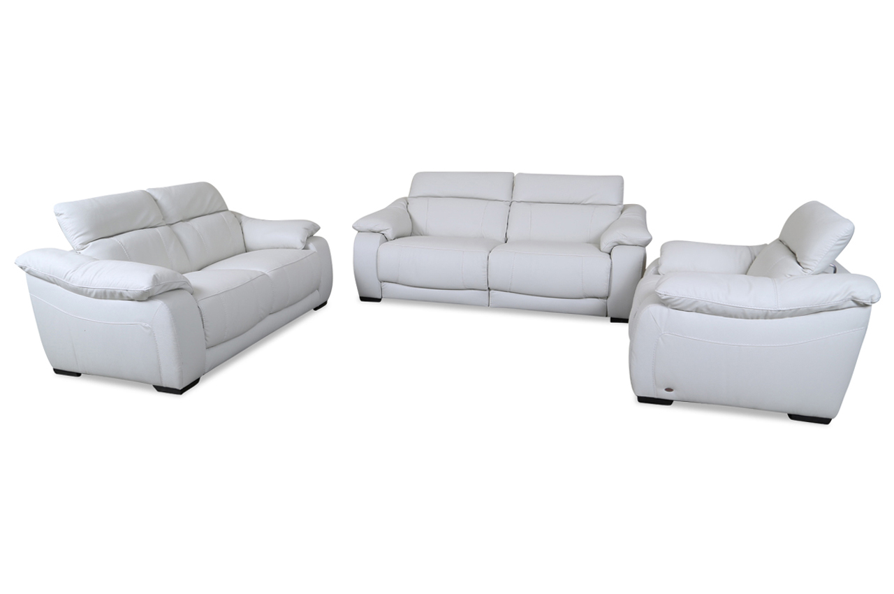 sofa couch editions leder garnitur 3 2 1 u076 mit relax weiss mit federkern ebay. Black Bedroom Furniture Sets. Home Design Ideas