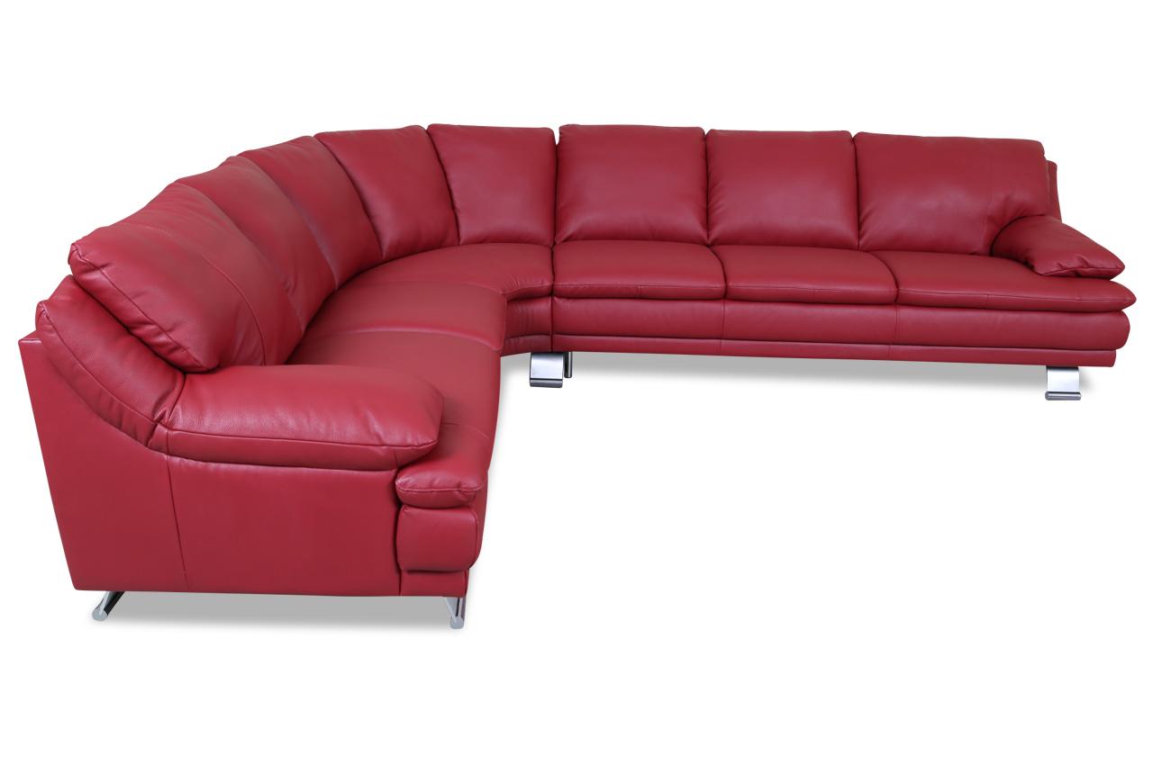 Editions leder rundecke u118 rot mit federkern sofa for Ecksofa leder federkern