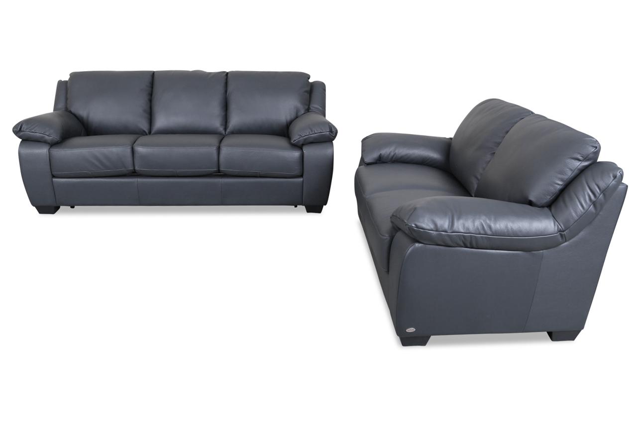 editions leder garnitur 3 2 u092 mit schlaffunktion grau mit federkern sofas zum halben preis. Black Bedroom Furniture Sets. Home Design Ideas