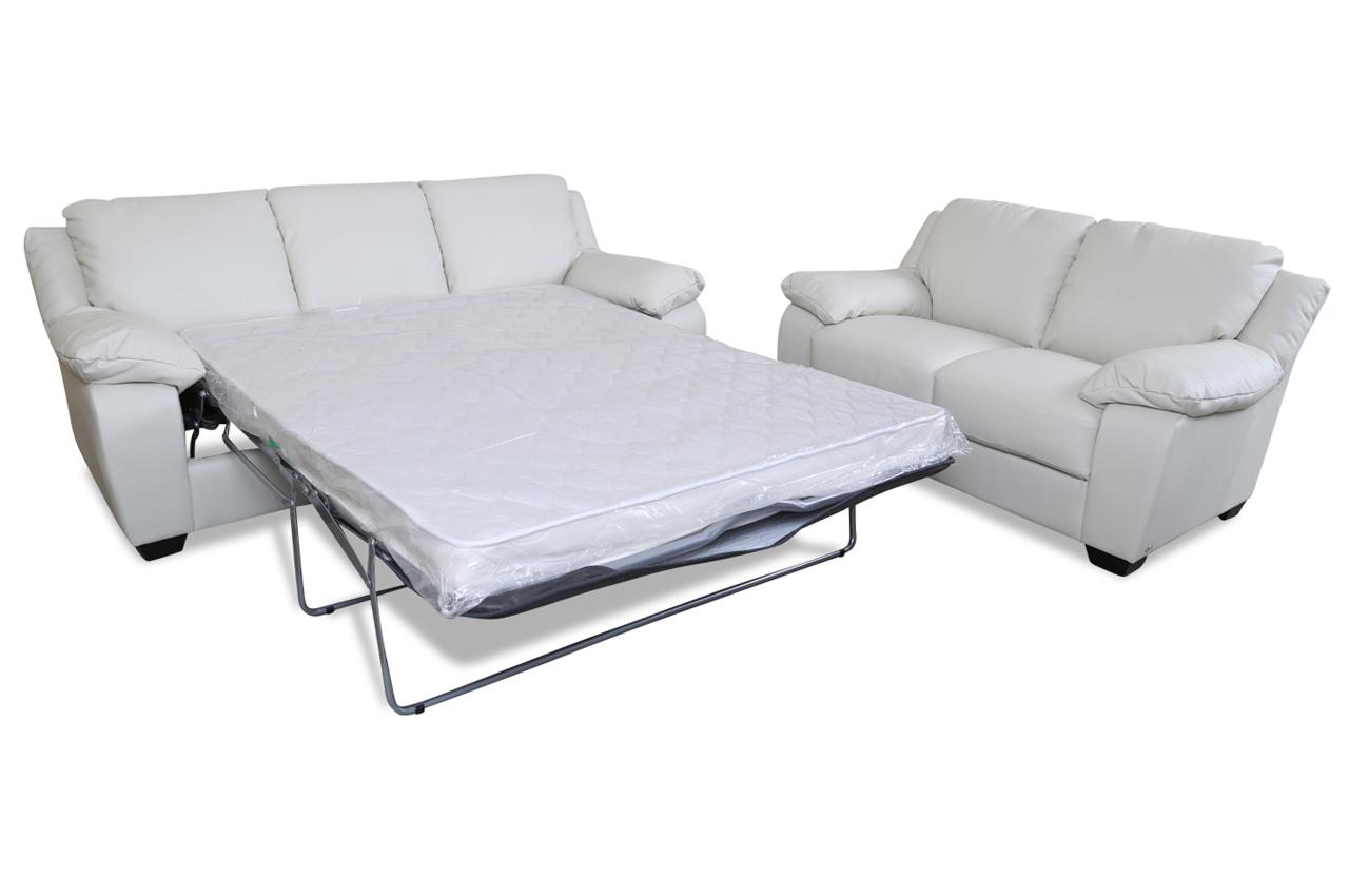 editions leder garnitur 3 2 u092 mit schlaffunktion weiss mit federkern sofas zum halben preis. Black Bedroom Furniture Sets. Home Design Ideas