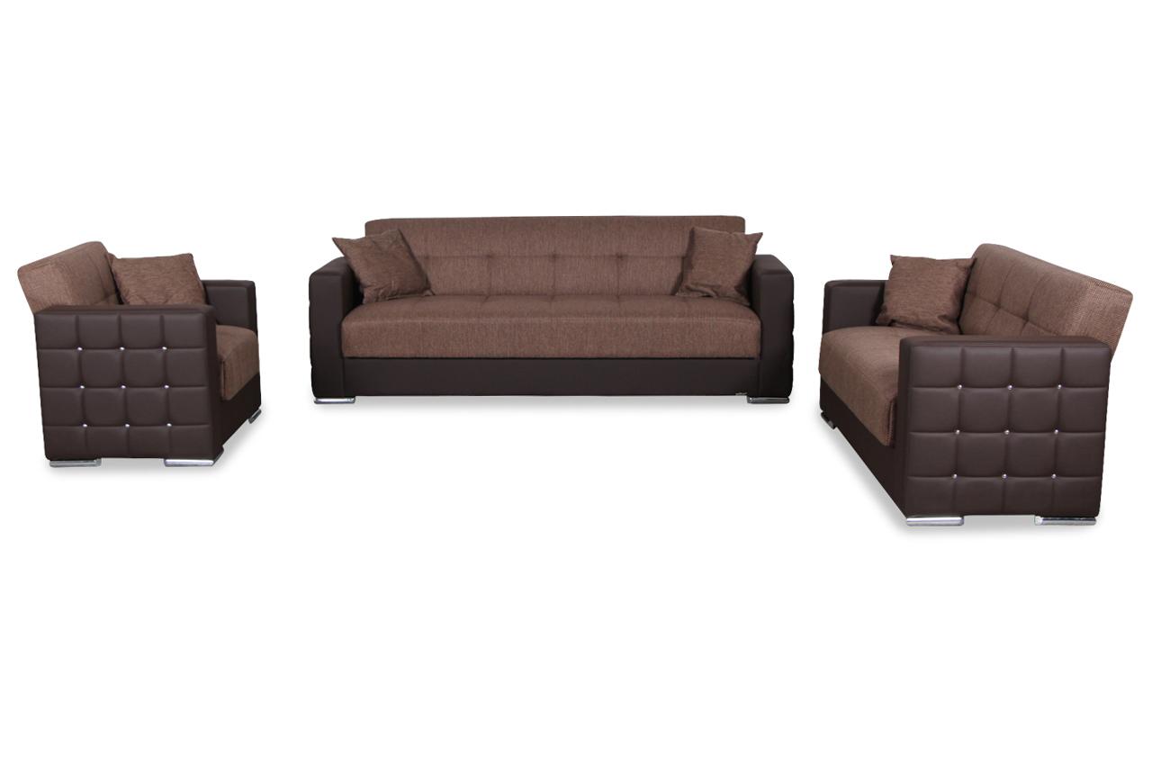 seher garnitur 3 2 1 borna mit schlaffunktion braun. Black Bedroom Furniture Sets. Home Design Ideas