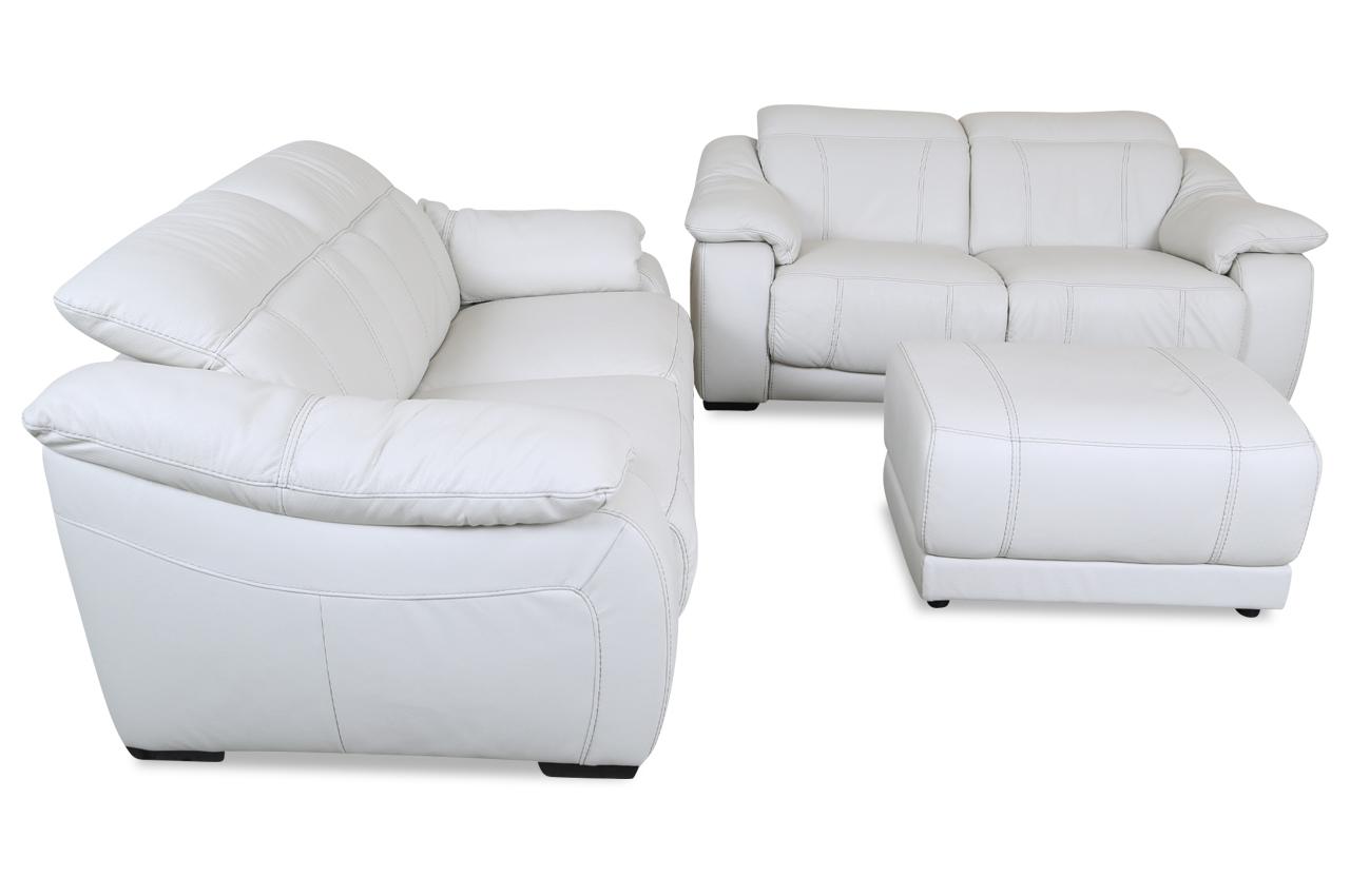 editions leder garnitur u076 mit hocker weiss mit federkern sofas zum halben preis. Black Bedroom Furniture Sets. Home Design Ideas
