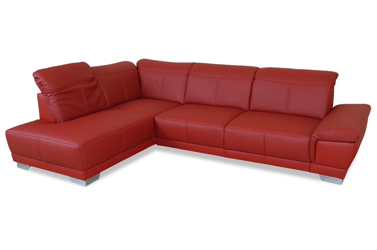 Ada alina leder ecksofa xl 7627 rot sofa couch ecksofa for Ecksofa leder bettfunktion