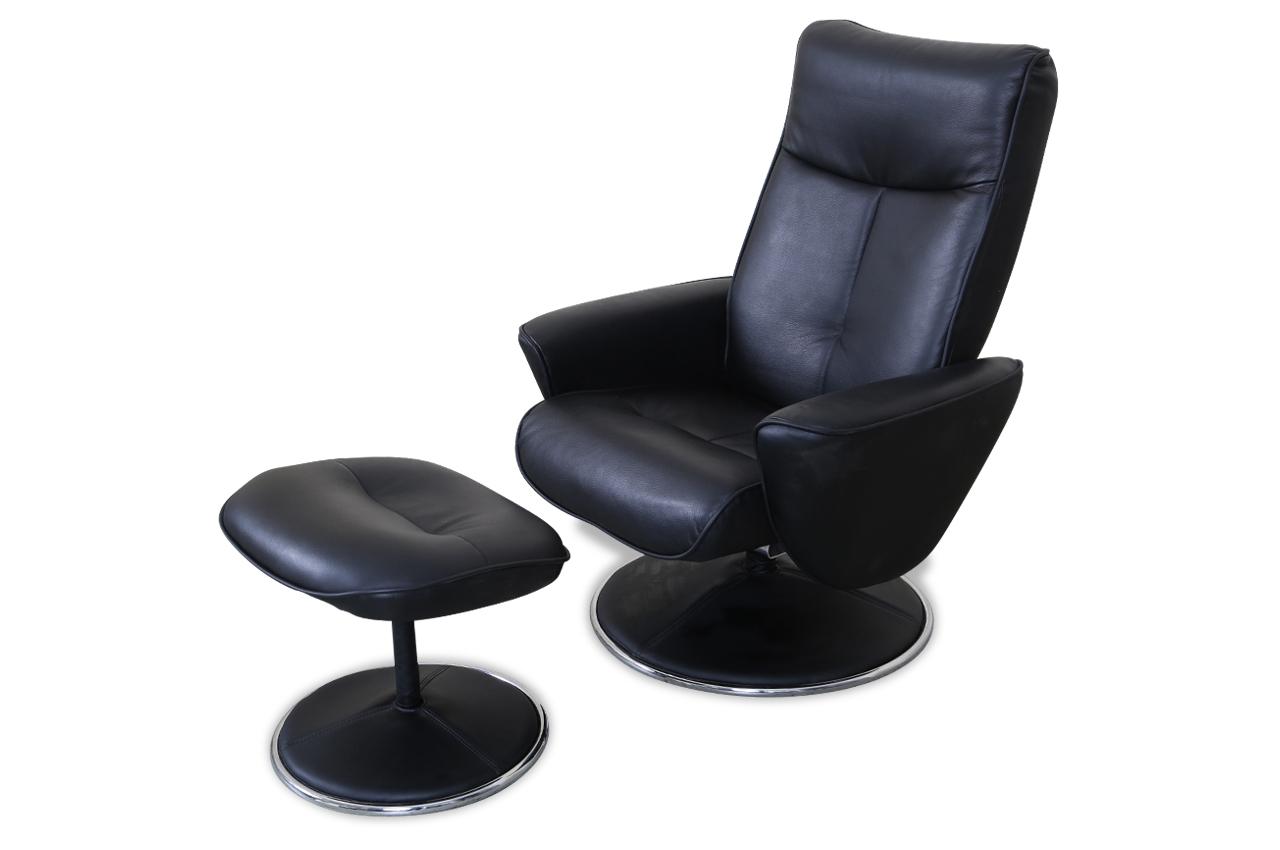 furntrade leder fernsehsessel nika mit hocker schwarz. Black Bedroom Furniture Sets. Home Design Ideas