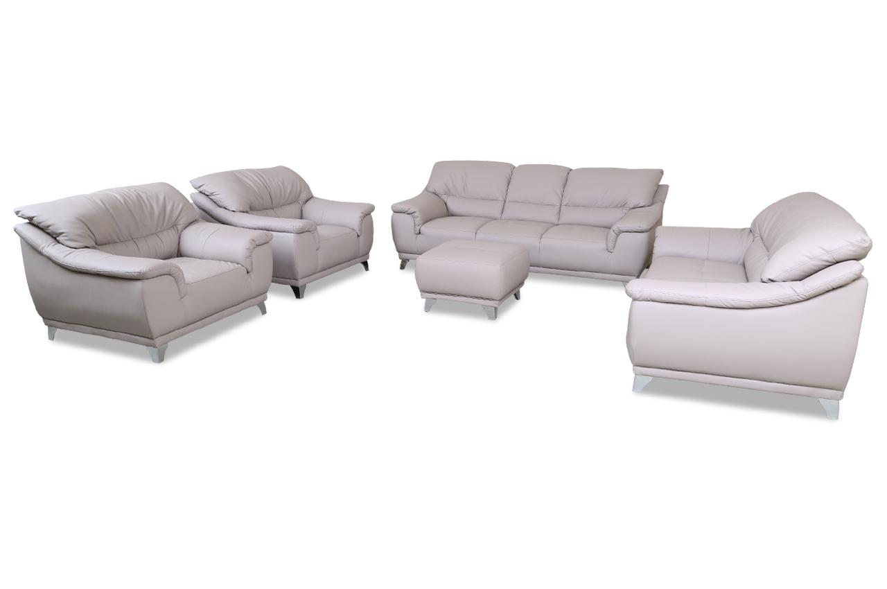 cotta garnitur 3 2 1 dunja mit hocker und sessel grau. Black Bedroom Furniture Sets. Home Design Ideas