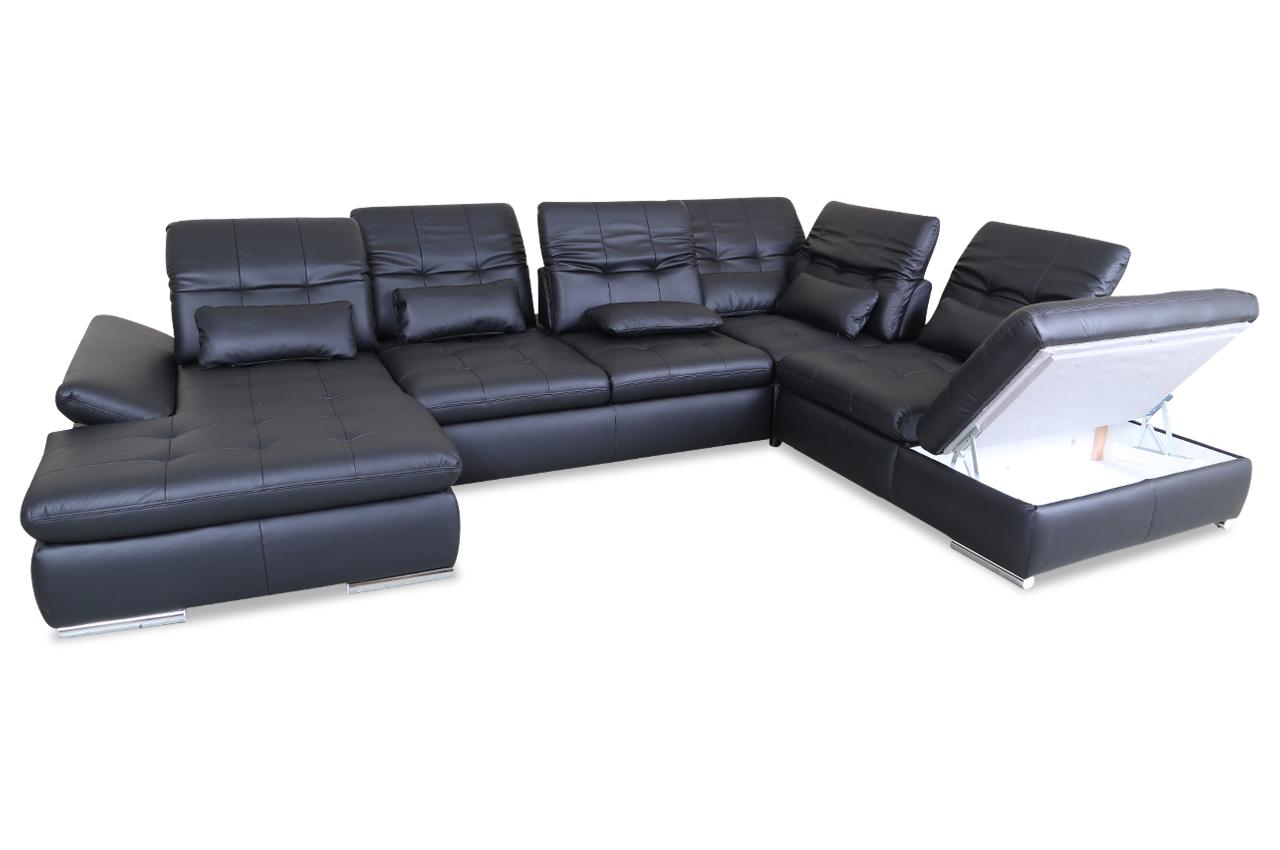 leder wohnlandschaft mit schlaffunktion schwarz sofas zum halben preis. Black Bedroom Furniture Sets. Home Design Ideas