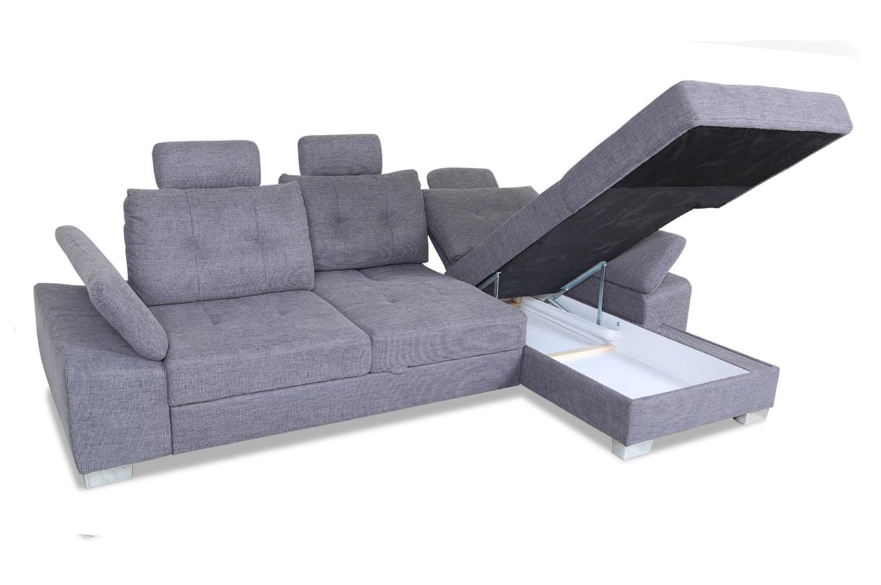 ecksofa brezza mit schlaffunktion grau sofas zum halben preis. Black Bedroom Furniture Sets. Home Design Ideas