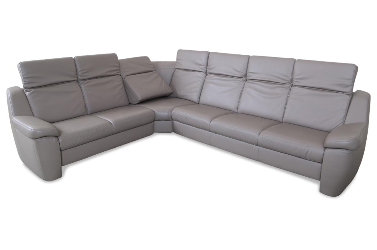 Sale Leder Rundecke Mit Sitzverstellung Braun Sofa Couch Ecksofa