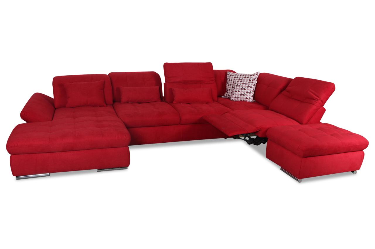 wohnlandschaft mit sitzverstellung und relax und schlaffunktion rot sofas zum halben preis. Black Bedroom Furniture Sets. Home Design Ideas