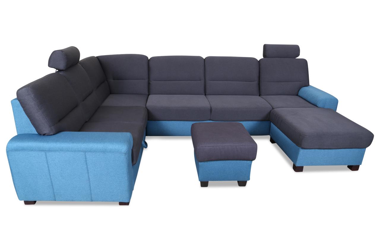 wohnlandschaft malta mit hocker blau sofas zum halben preis. Black Bedroom Furniture Sets. Home Design Ideas