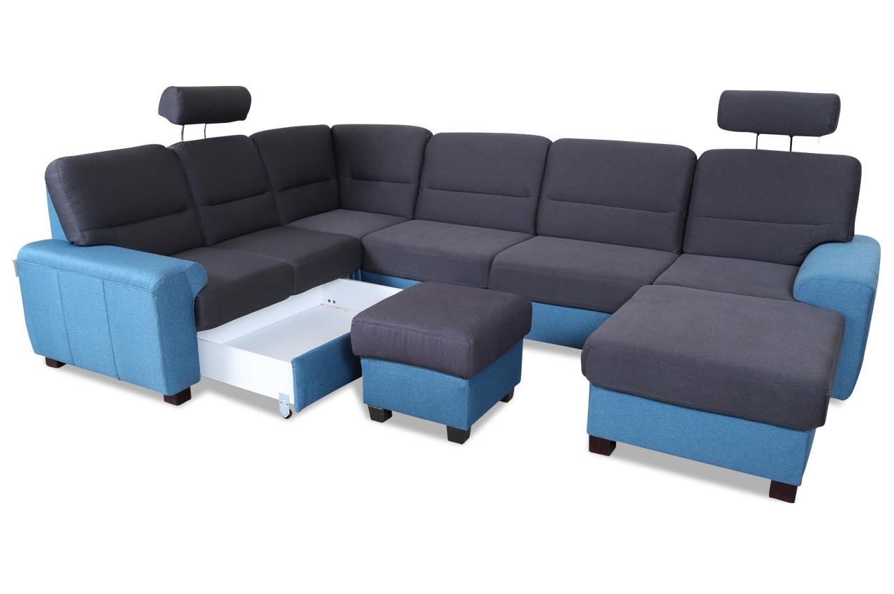 wohnlandschaft malta mit hocker blau sofas zum halben. Black Bedroom Furniture Sets. Home Design Ideas