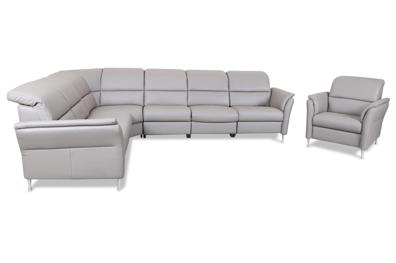 leder rundecke mit sessel mit relax braun mit. Black Bedroom Furniture Sets. Home Design Ideas