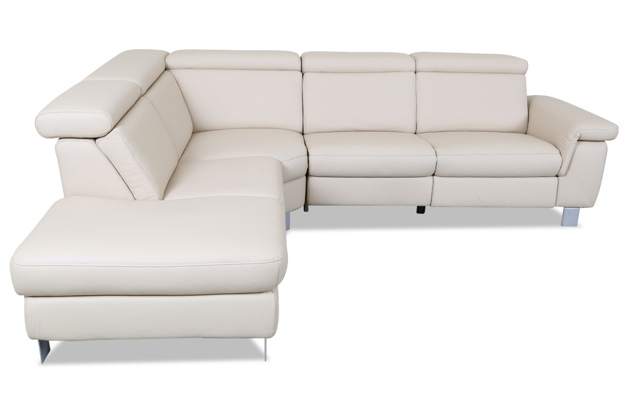 leder rundecke mit relax creme mit federkern sofa couch ecksofa ebay. Black Bedroom Furniture Sets. Home Design Ideas