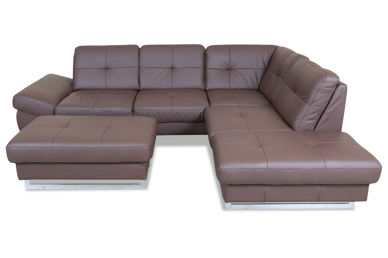 cotta leder ecksofa xl solution mit hocker braun sofas zum halben preis. Black Bedroom Furniture Sets. Home Design Ideas