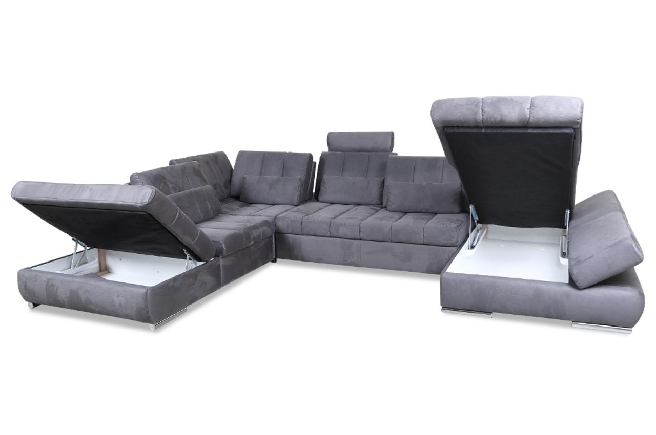 wohnlandschaft mit sitzverstellung und schlaffunktion grau sofas zum halben preis. Black Bedroom Furniture Sets. Home Design Ideas