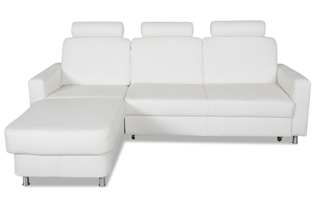 ada alina leder ecksofa 7427 mit schlaffunktion weiss sofas zum halben preis. Black Bedroom Furniture Sets. Home Design Ideas