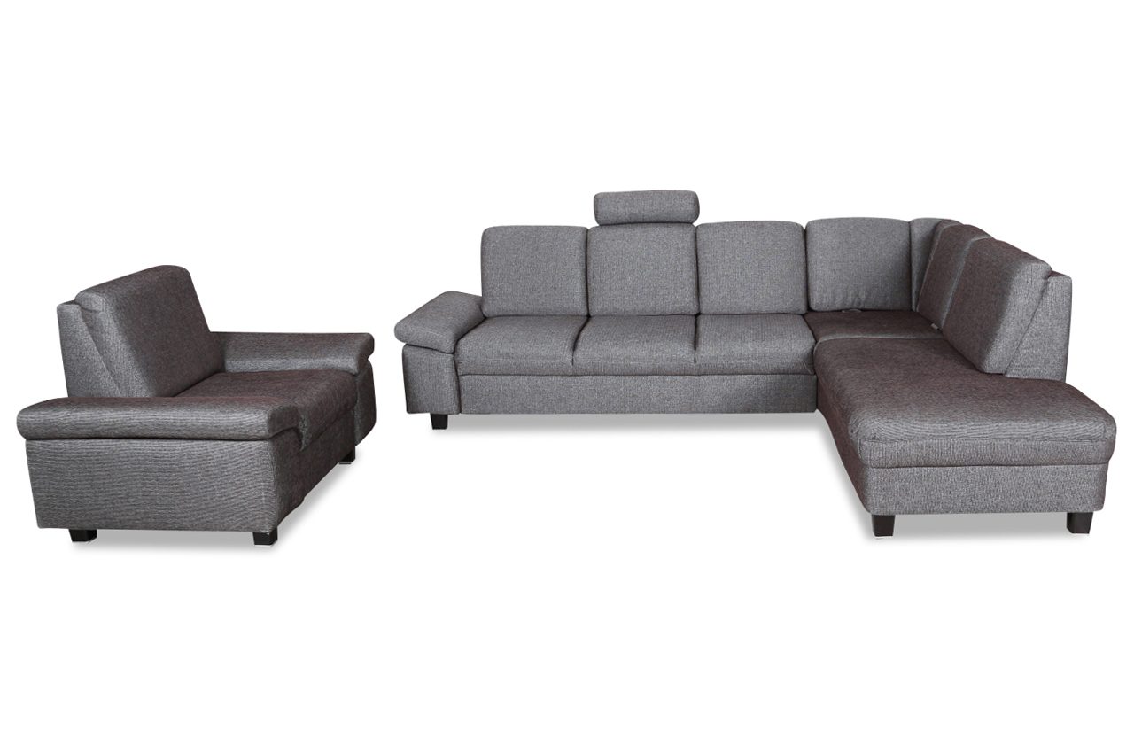 ada alina ecksofa xl 7411 mit sessel mit relax braun sofas zum halben preis. Black Bedroom Furniture Sets. Home Design Ideas