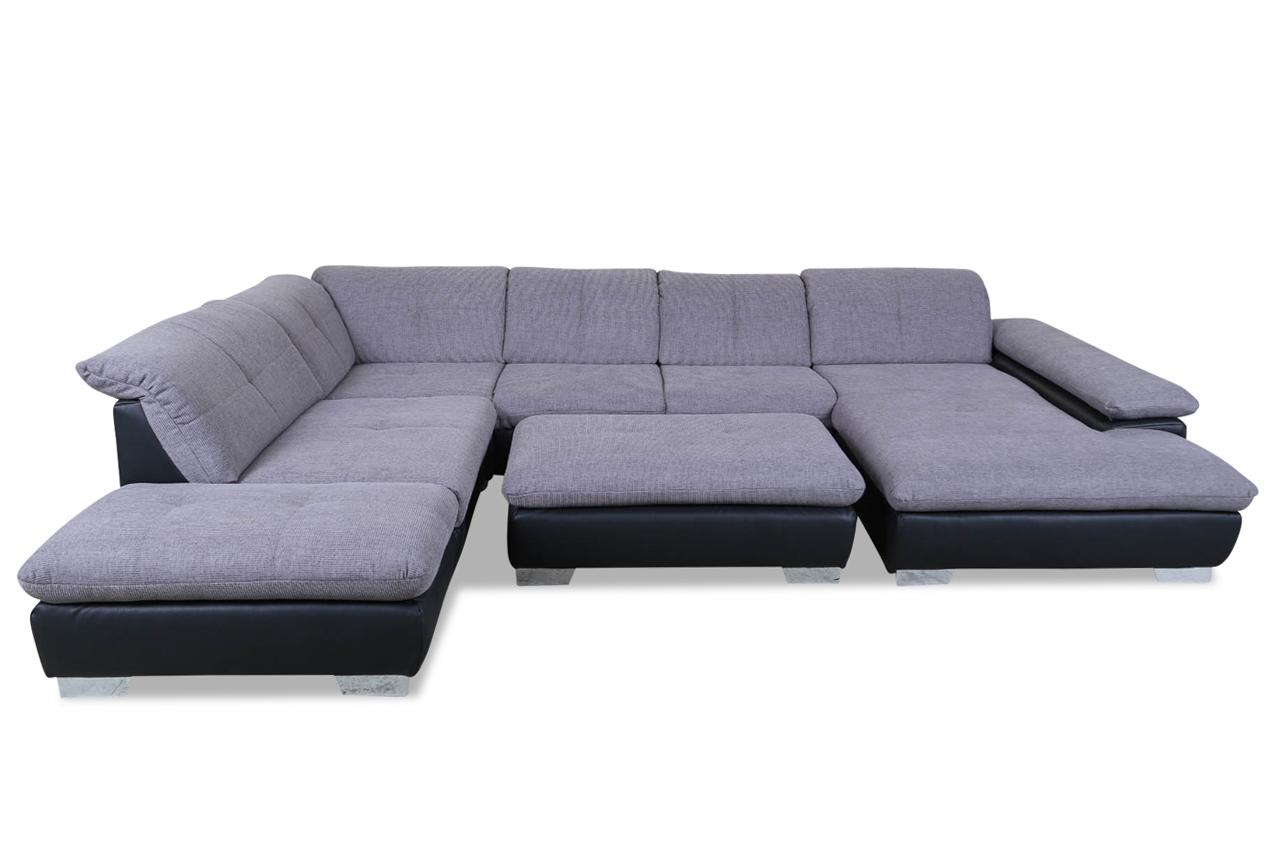 ada alina wohnlandschaft 7576 mit hocker grau sofas. Black Bedroom Furniture Sets. Home Design Ideas