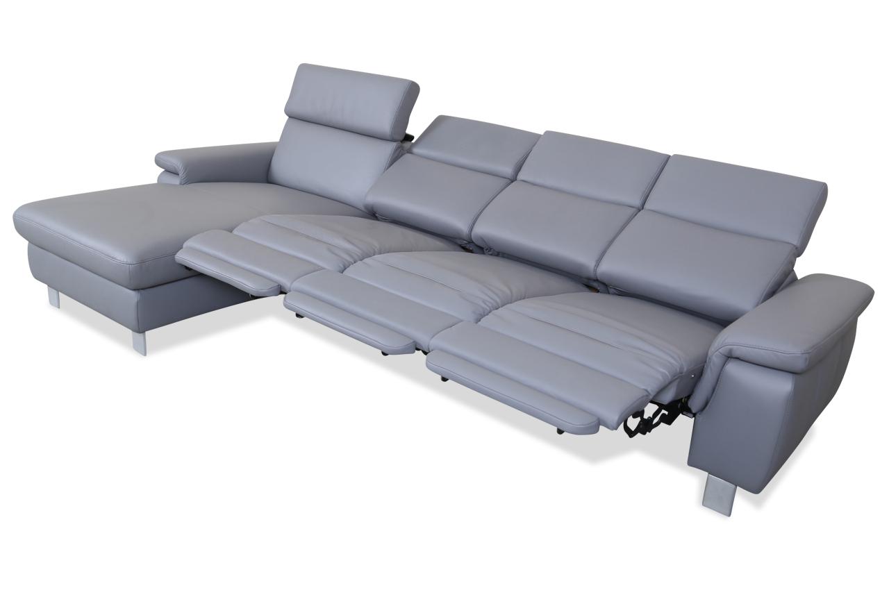 sale leder ecksofa mit relax grau sofa couch ecksofa ebay. Black Bedroom Furniture Sets. Home Design Ideas
