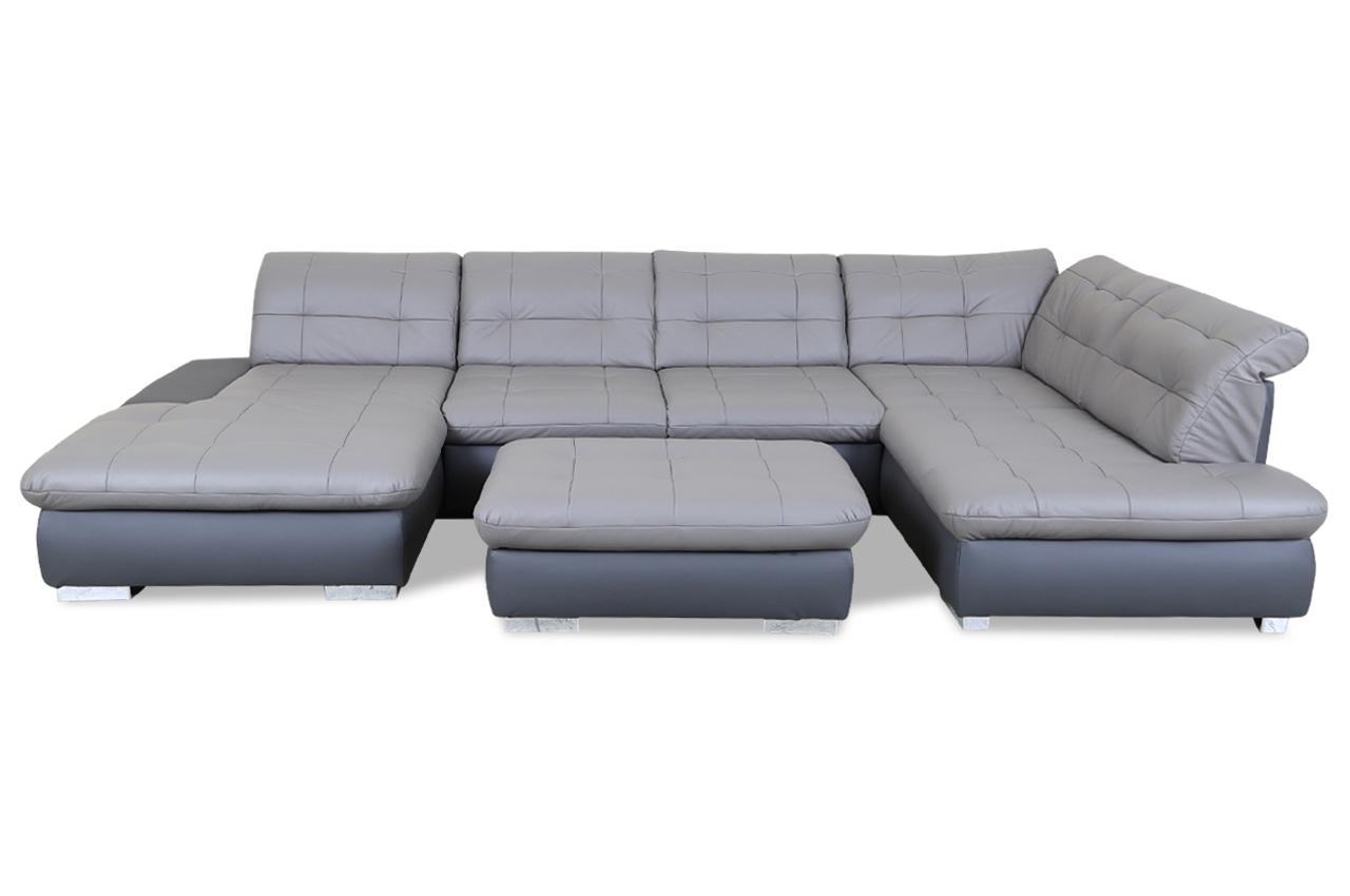 leder wohnlandschaft mit hocker mit schlaffunktion. Black Bedroom Furniture Sets. Home Design Ideas