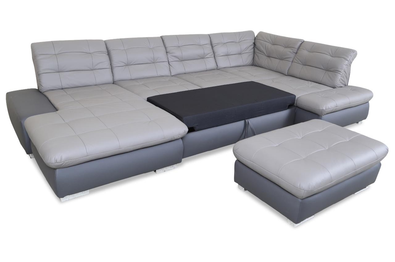 leder wohnlandschaft mit hocker mit schlaffunktion schwarz sofas zum halben preis. Black Bedroom Furniture Sets. Home Design Ideas
