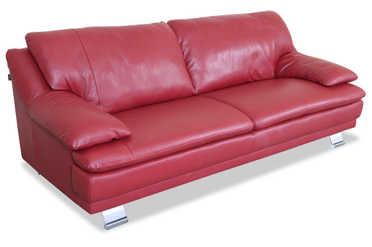 editions leder 3er sofa u118 rot mit federkern sofas zum halben preis. Black Bedroom Furniture Sets. Home Design Ideas