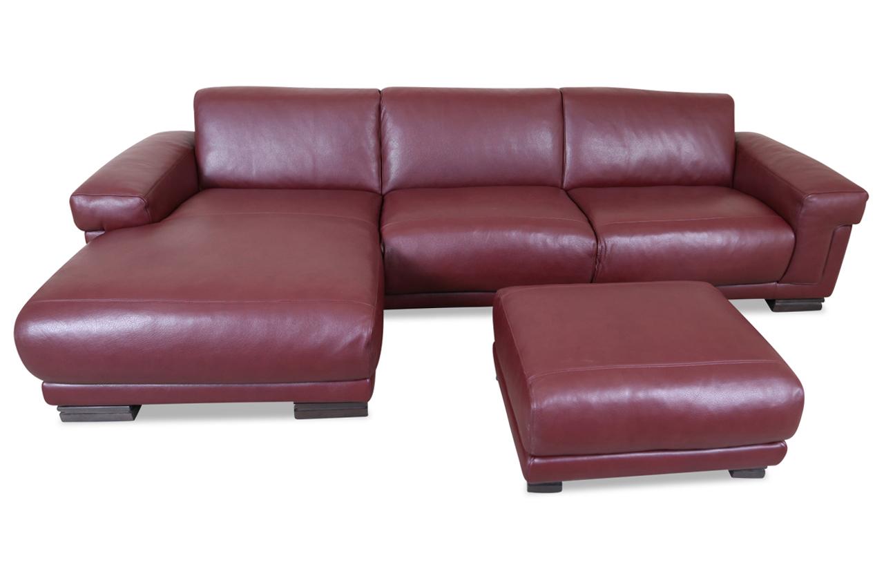 editions leder ecksofa 2380 mit hocker rot mit federkern sofas zum halben preis. Black Bedroom Furniture Sets. Home Design Ideas