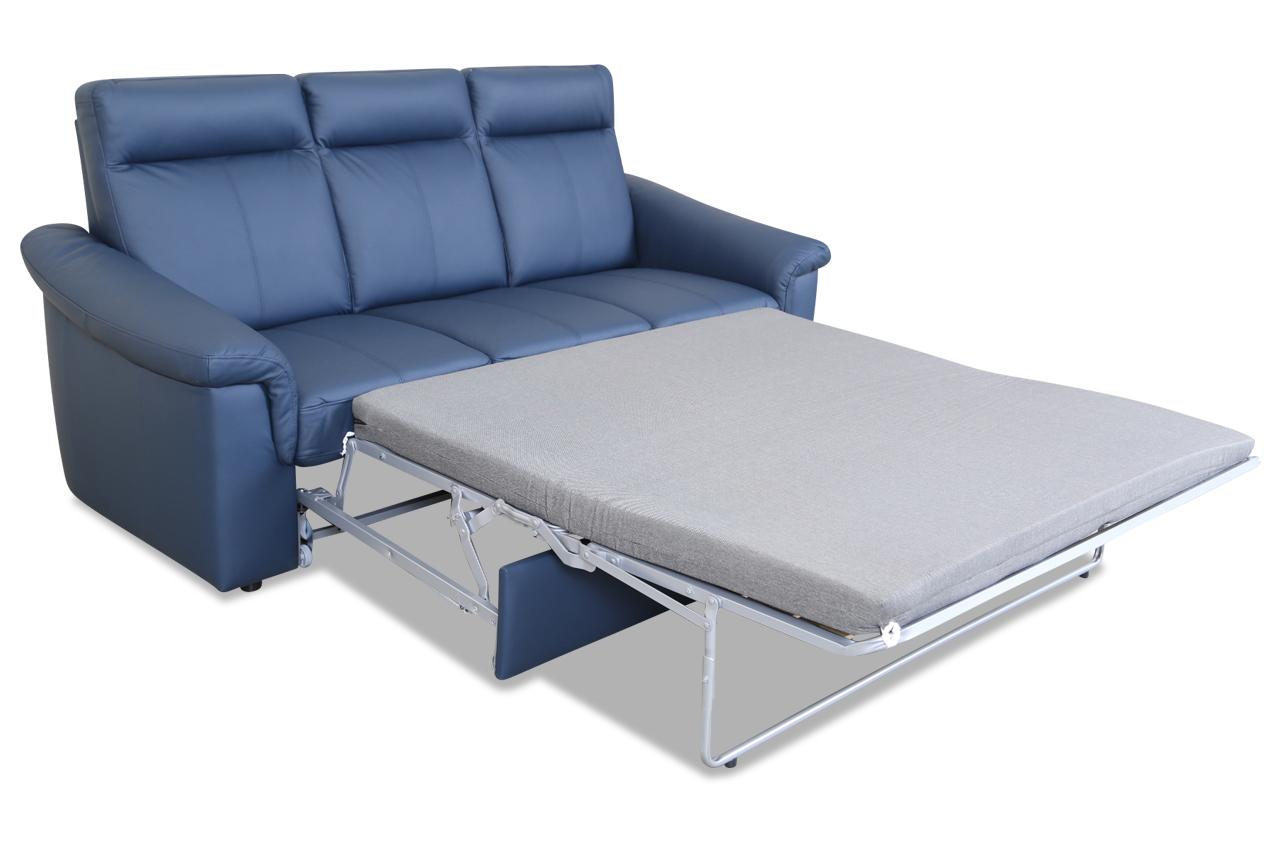 leder 3er sofa mit schlaffunktion blau sofas zum halben preis. Black Bedroom Furniture Sets. Home Design Ideas