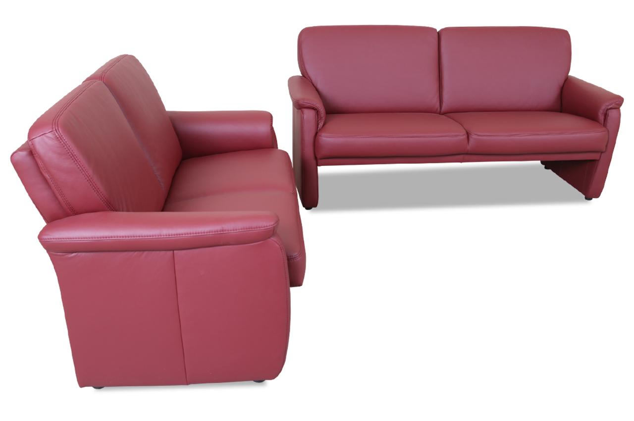 leder garnitur 3 2 rot sofas zum halben preis. Black Bedroom Furniture Sets. Home Design Ideas