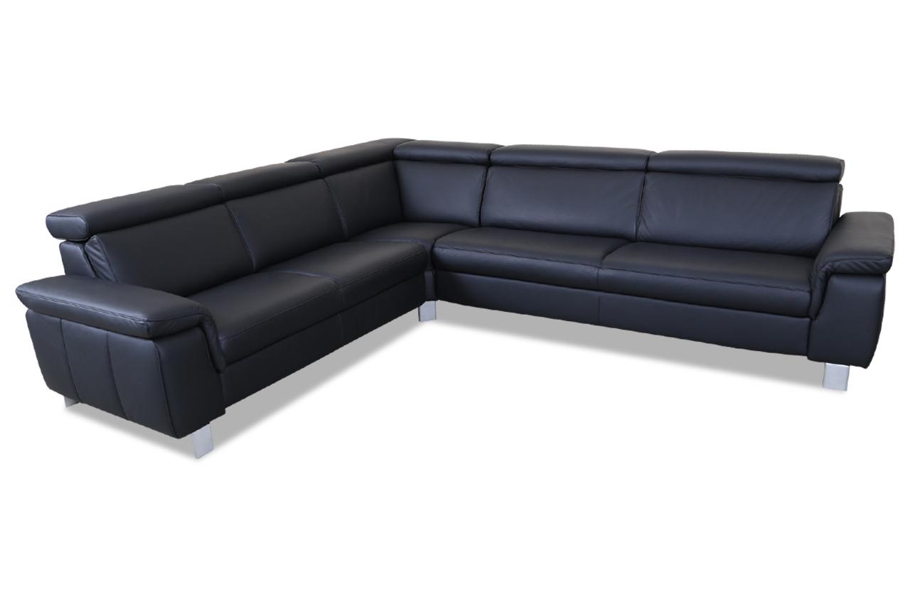 Sale Leder Rundecke Schwarz Sofa Couch Ecksofa
