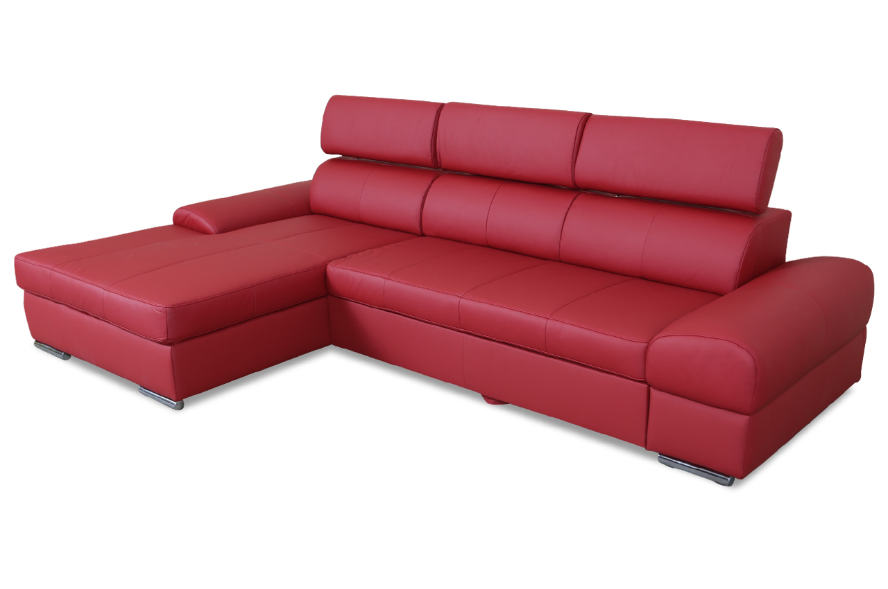 leder ecksofa mit schlaffunktion rot mit federkern sofas zum halben preis. Black Bedroom Furniture Sets. Home Design Ideas