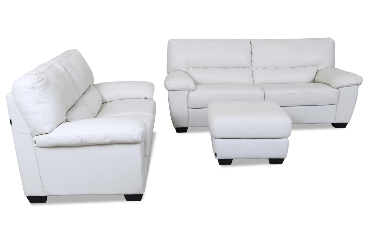 editions leder garnitur 3 2 u172 mit hocker weiss mit federkern sofas zum halben preis. Black Bedroom Furniture Sets. Home Design Ideas