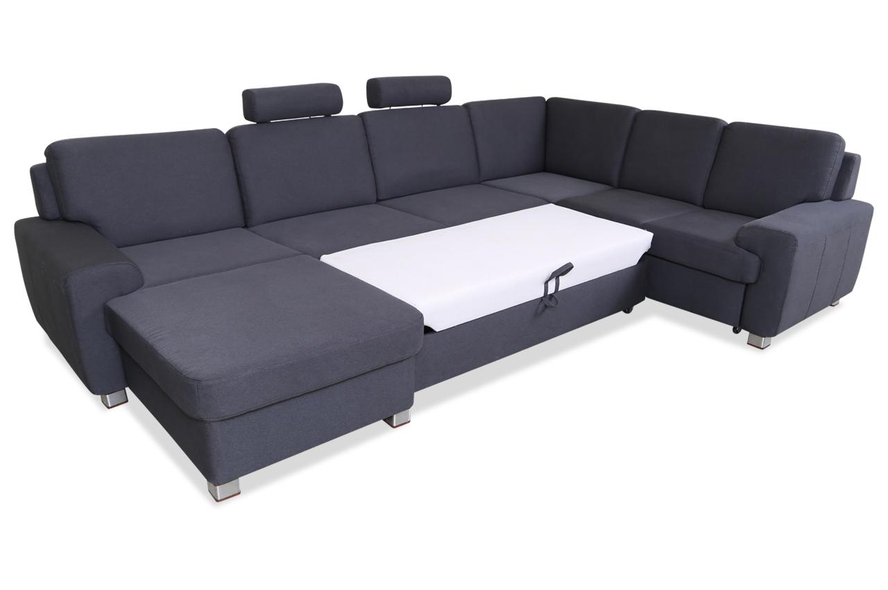 Wohnlandschaft Plaza - mit Schlaffunktion - Grau | Sofas zum halben ...
