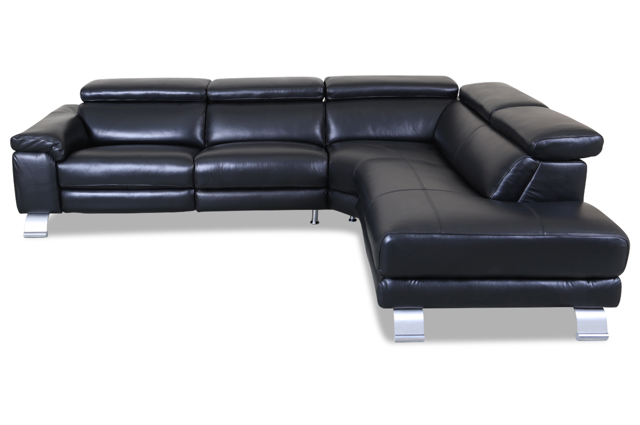 htl international leder ecksofa xl 5320b schwarz mit. Black Bedroom Furniture Sets. Home Design Ideas