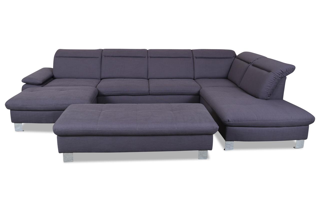 ada alina wohnlandschaft 7173 mit hocker grau sofas zum halben preis. Black Bedroom Furniture Sets. Home Design Ideas