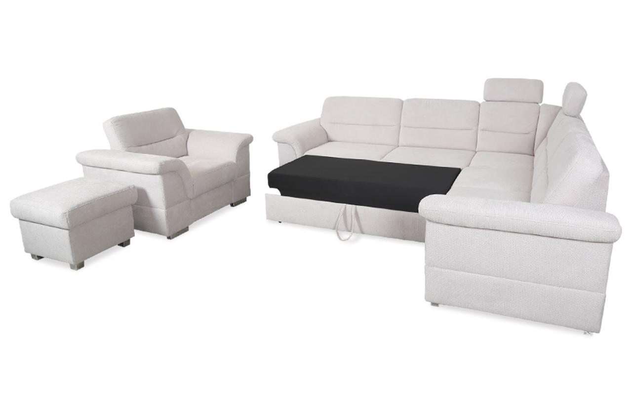 Sessel mit schlaffunktion  Rundecke mit Hocker und Sessel - mit Schlaffunktion - Grau | Sofas ...