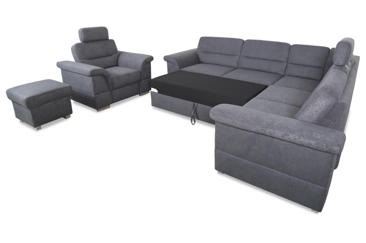 rundecke mit hocker und sessel mit schlaffunktion grau. Black Bedroom Furniture Sets. Home Design Ideas