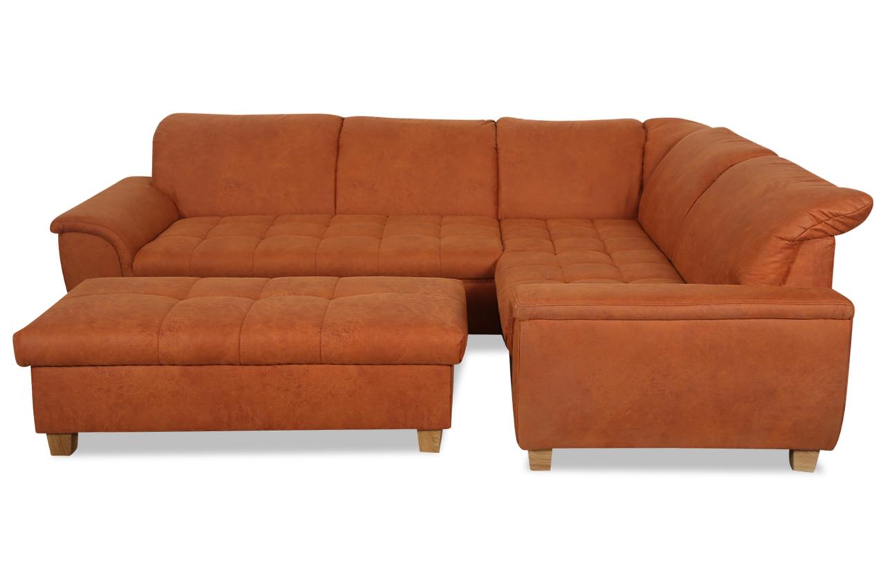ecksofa xl lya mit hocker mit schlaffunktion orange. Black Bedroom Furniture Sets. Home Design Ideas
