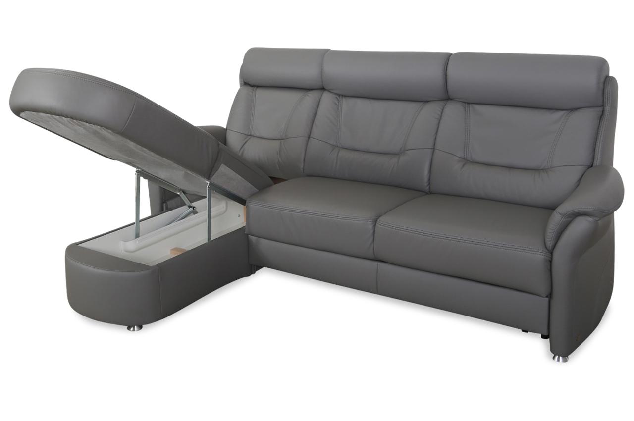 Ecksofa mit schlaffunktion grau leder  Leder Ecksofa - mit Schlaffunktion - Grau | Sofas zum halben Preis