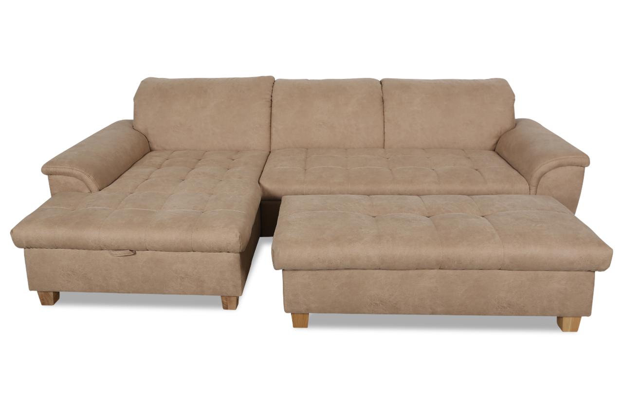 ecksofa lya mit hocker mit schlaffunktion braun sofas zum halben preis. Black Bedroom Furniture Sets. Home Design Ideas