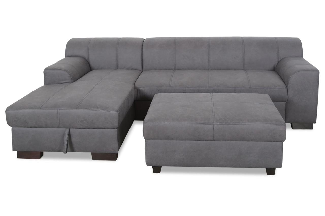 ecksofa falk mit hocker mit schlaffunktion grau sofas zum halben preis. Black Bedroom Furniture Sets. Home Design Ideas
