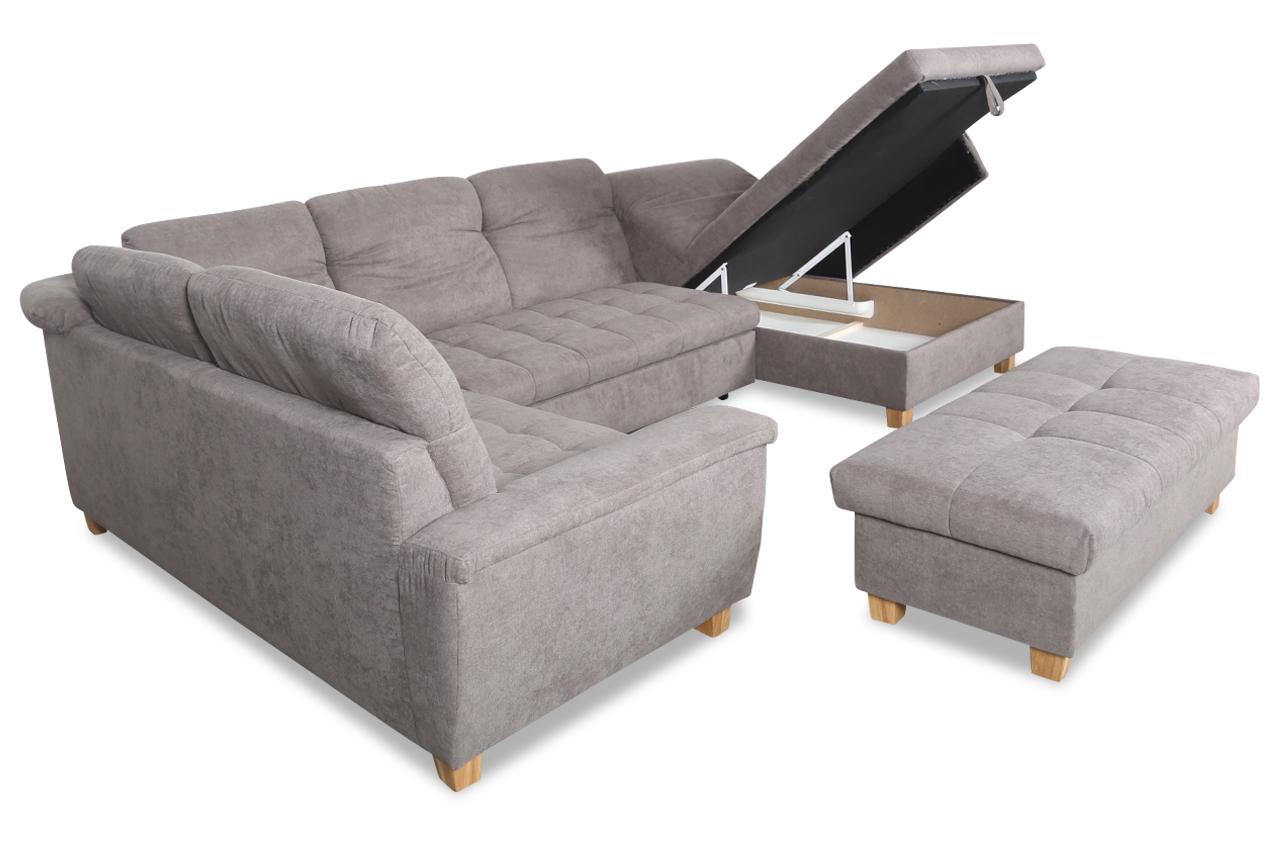 wohnlandschaft lya mit hocker mit schlaffunktion grau. Black Bedroom Furniture Sets. Home Design Ideas