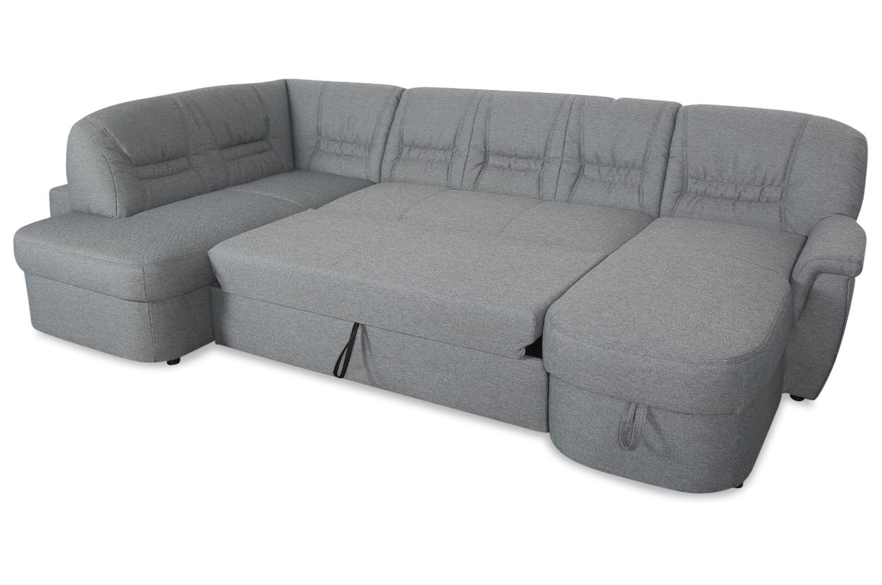 wohnlandschaft zoe mit hocker mit schlaffunktion grau stoff sofa couch ebay. Black Bedroom Furniture Sets. Home Design Ideas